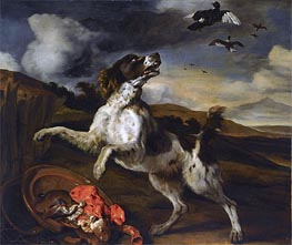 Jan Baptist Weenix | A Landscape with an English Springer Spaniel  | Giclée Canvas Print
