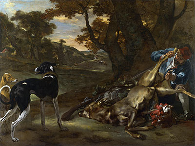 A Huntsman Cutting up a Dead Deer, with Two Deerhounds, c.1647/60 | Jan Baptist Weenix | Giclée Canvas Print
