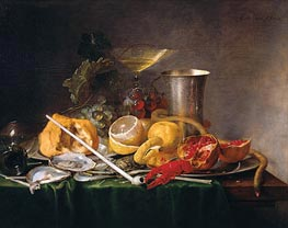 de Heem | Still Life, Breakfast with Glass of Champagne and Pipe | Giclée Canvas Print