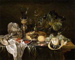 de Heem | Still Life with Fruit, Pie and Drinking Utensils, Undated | Giclée Canvas Print