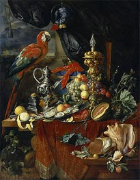 de Heem | Still Life with Parrots, c.1646/49 | Giclée Canvas Print