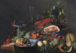 de Heem | Still Life with Ham, Lobster and Fruit, c.1653 | Giclée Canvas Print