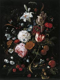 de Heem | Flowers in a glass Vase with Fruit, c.1665 | Giclée Canvas Print