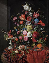 de Heem | Flowers in a Glass Vase with Birds, undated | Giclée Canvas Print