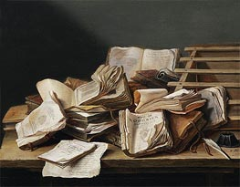 de Heem | Still Life with Books, 1628 | Giclée Canvas Print