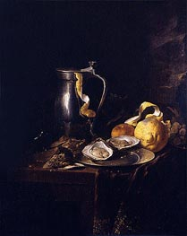 de Heem | Still Life with a Pewter Jug, Oysters and a Lemon, 1633 | Giclée Canvas Print