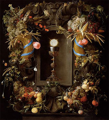 Communion Cup and Host, Encircled with a Garland of Fruit, 1655 | de Heem | Giclée Canvas Print