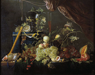 Fruit Still Life with Jewelry Box, c.1650/55 | de Heem | Painting Reproduction
