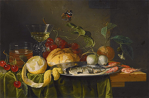 Still Life with Glass of Wine and Herring, 1653 | de Heem | Painting Reproduction