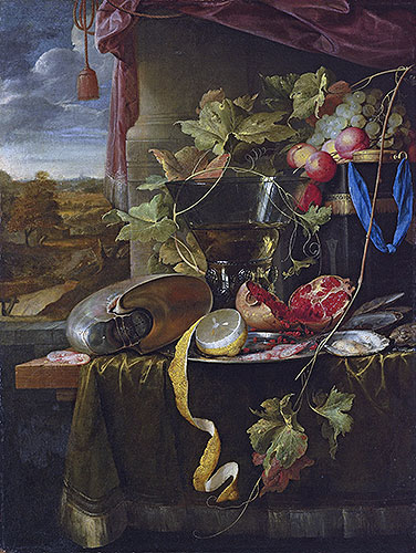 Still Life with Shell, Peeled Lemon and Pomegranate, undated | de Heem | Giclée Canvas Print