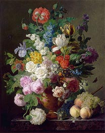 van Dael | Vase of Flowers, Grapes and Peaches, 1810 | Giclée Canvas Print