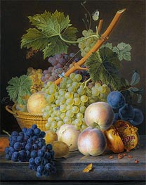 van Dael | Still Life with Basket of Grapes and Peaches, 1809 | Giclée Canvas Print