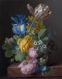 van Dael | A Vase of Flowers with a Bird's Nest on a Marble Ledge, 1820 | Giclée Canvas Print