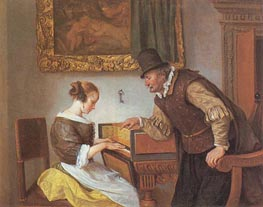 Jan Steen | The Harpsichord Lesson, c.1660 | Giclée Canvas Print