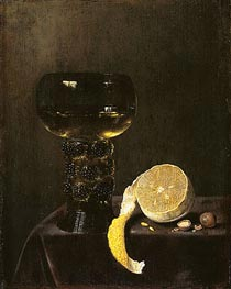 Jan Jansz van de Velde III | Wine Glass and Cut Lemon, 1649 | Giclée Canvas Print