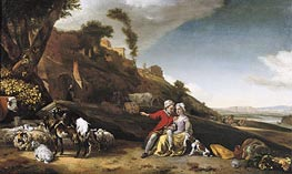 Jan Weenix | A Young Couple with Goats and Sheep in an Italianate Landscape | Giclée Canvas Print