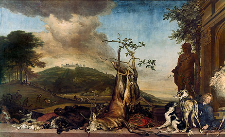 Hunting Still Life Before a Scenery with Castle Mountain Bens, 1712 | Jan Weenix | Painting Reproduction