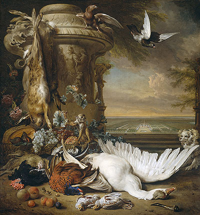 A Monkey and a Dog at Dead Game and Fruit, 1714 | Jan Weenix | Giclée Canvas Print