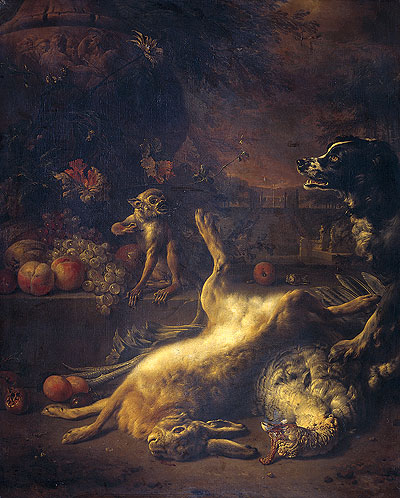 A Monkey and a Dog at Dead Game and Fruit, 1704 | Jan Weenix | Giclée Canvas Print