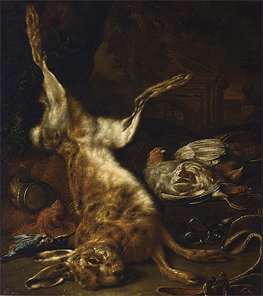 A Hunting Still Life with a Hare two Partridges and a Kingfisher, undated | Jan Weenix | Giclée Canvas Print