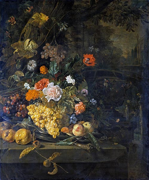 Flowers and Fruit, 1676 | Jan Weenix | Painting Reproduction