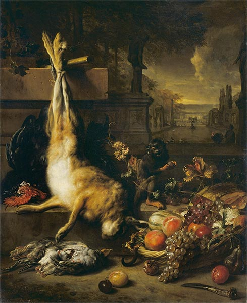 Dead Hare, Fruit and Monkey, 1704 | Jan Weenix | Painting Reproduction