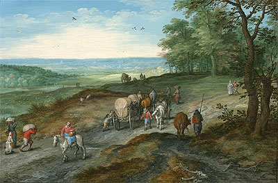 Panoramic Landscape with Covered Waggon and Travellers, 1612 | Jan Bruegel the Elder | Giclée Canvas Print