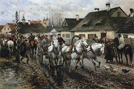 Jan van Chelminski | A Horse Market in Poland, 1886 | Giclée Canvas Print