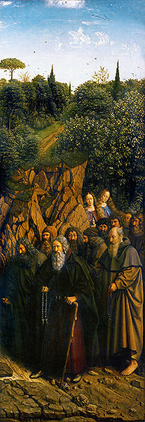 The Hermits (The Ghent Altarpiece), 1432 | Jan van Eyck | Painting Reproduction