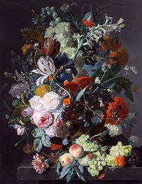 Jan van Huysum | Still Life with Flowers and Fruit, c.1715 | Giclée Canvas Print
