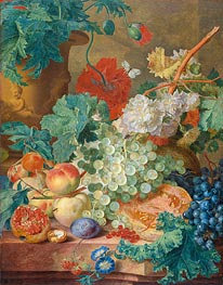 Jan van Huysum | Still Life with Flowers and Fruits, 1749 | Giclée Canvas Print
