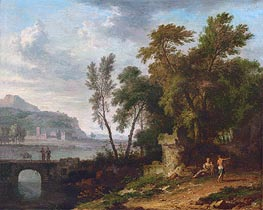 Jan van Huysum | Landscape with Figures, Ruins and Bridge, c.1709/30 | Giclée Canvas Print