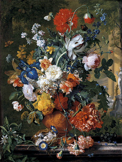 Flowers in a Terracotta Vase on a Marble Ledge, undated | Jan van Huysum | Giclée Canvas Print