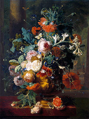 Vase of Flowers in a Park with Statue, undated | Jan van Huysum | Giclée Canvas Print