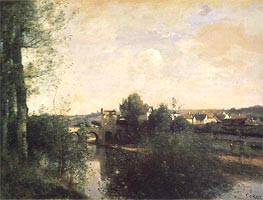 Corot | Old Bridge at Limay, on the Seine | Giclée Canvas Print