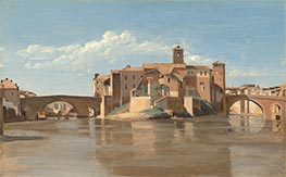 Corot | The Island and Bridge of San Bartolomeo, Rome | Giclée Canvas Print