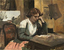 Corot | Young Girl Reading | Giclée Canvas Print