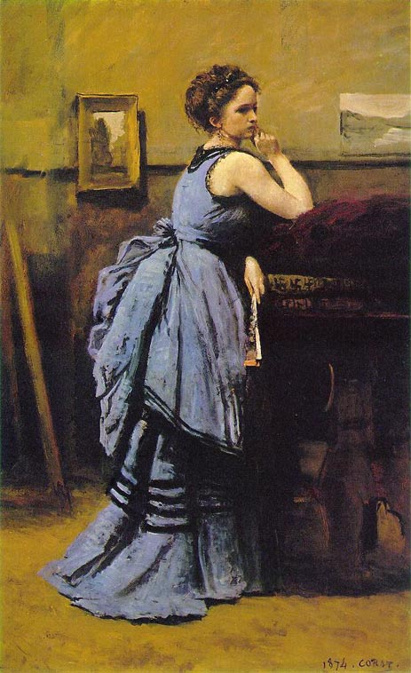 Lady in Blue, 1874 | Corot | Giclée Canvas Print