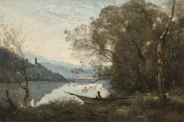 The Moored Boatman: Souvenir of an Italian Lake, 1861 | Corot | Painting Reproduction
