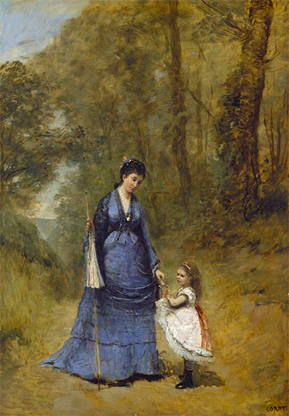 Madame Stumpf and Her Daughter, 1872 | Corot | Painting Reproduction