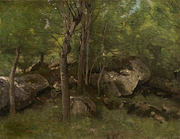 Rocks in the Forest of Fontainebleau, c.1860/65 | Corot | Giclée Canvas Print