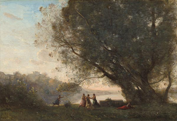 Dance under the Trees at the Edge of the Lake, c.1865/70 | Corot | Painting Reproduction