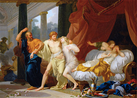 Socrates Dragging Alcibiades from the Arms of Voluptuous Pleasure, c.1791 | Baron Jean Baptiste Regnault | Giclée Canvas Print