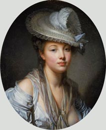 Jean-Baptiste Greuze | Young Woman in a White Hat, c.1780 | Giclée Canvas Print