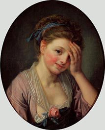 Jean-Baptiste Greuze | Young Girl with a Rose, undated | Giclée Canvas Print