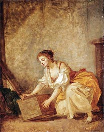 Jean-Baptiste Greuze | A Young Girl Lifting a Chest, undated | Giclée Canvas Print