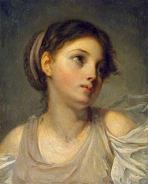 Jean-Baptiste Greuze | Young Girl in a Lilac Tunic | Giclée Canvas Print