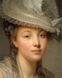 Jean-Baptiste Greuze | Young Woman in a White Hat (Detail), c.1780 | Giclée Canvas Print