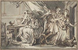 Jean-Baptiste Greuze | Lovers Profiting from the Drowsiness of the Grandmother, a.1785 | Giclée Paper Print