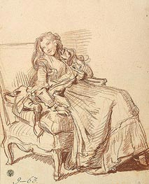 Jean-Baptiste Greuze | Young Woman in an Artchair, c.1765 | Giclée Paper Print